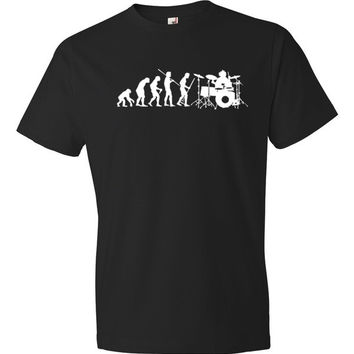 Drummer Drums Evolution of Man Funny Short sleeve t-shirt
