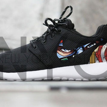 Nike Roshe Run Black White Marvel Avengers Captain America Custom Men    Women 257a116c8a