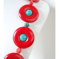 Circle Necklace, Tangerine Tango, Retro