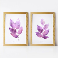 DIY Printable wall art Set of 2 prints, 5x7 art prints, Purple home decor wall art, Nature prints Leaves art, Bathroom decor, Wall prints