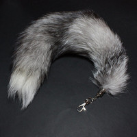 Light Indigo Fox Tail Key Chain, Black Grey White Tail Keychain 15-18 inches long