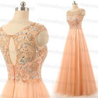 Handmade Coral Girls Long Prom Dress/Wedding Party Dress Sexy Coral Cap Sleeve Beading Tulle Bridesmaid Dress
