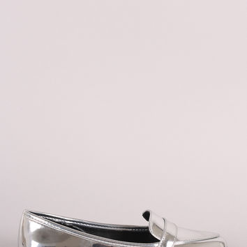 Qupid Metallic Slip On Loafer Flat