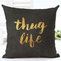 Talk to Me Black and Gold 18 x 18 Pillow Cover