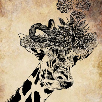 giraffe wearing flower hat png clip art Digital Image Download jungle animal safari