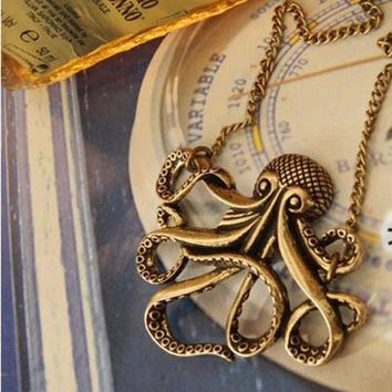 Vintage Pirates of the Caribbean Davy Jones Octopus Long Clothing Necklace