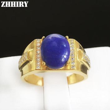 Man ring natural Lapis Lazuli gem stone Real 925 sterling silver men rings jewelry