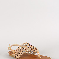 Sunny Feet Sequoia-46 Metallic Cut Out Slingback Flat Sandal