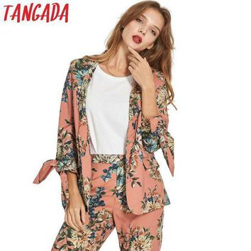 ICIKFV3 Tangada Women Floral Print Blazer Jacket Bow Long Sleeve Notched Collar Pocket Jacket Coat Office Ladies Blazer Casual Brand JE2