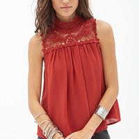 FOREVER 21 Crocheted Yoke Top Rust
