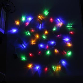 Hanging Picture Photo Peg Clip 4M 40 LED String Light Christmas Battery LED Fairy Lights Wedding Decoration Holiday Light