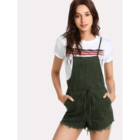 Pocket Front Raw Hem Overall Shorts