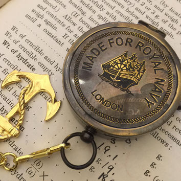 Compass on a Pocket Watch, Boyfriend Gift, Gift for Him, Husband Gift, Dad Gift, Gift for Dad, Gold Compass, Compass Pocket Watch, Mens Gift