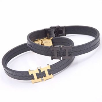 Hermes personality is a perfect match for lovers' bracelet double letter H clasp leather rope stainless steel bracelet F-LCZD-ALRSP