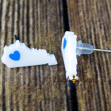 Kentucky State Earrings, State Pride, Kentucky Earrings, White Earrings, Kentucky Pride Earrings, School Spirit, Personalized Jewelry