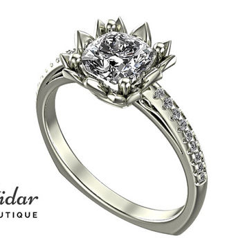 Flower Engagement Ring,Unique Engagement Ring,diamond Engagement Ring,cushion,Diamond  Engagement Ring,lotus,floral,White gold Ring
