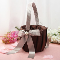 Free Shipping Shimmering Gold Satin  Flower Girl Basket Wedding Decoration Party Ceremony Supplies