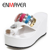 ENMAYER Size 34-43 Fashion Sandals Cutout Wedge Heels Platform Open Toe Summer Shoes Flip Flops Chic Sandals Sexy Women Sandals