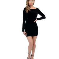 1960s Style Black Long Sleeved Velvet Mod Bodycon Dress