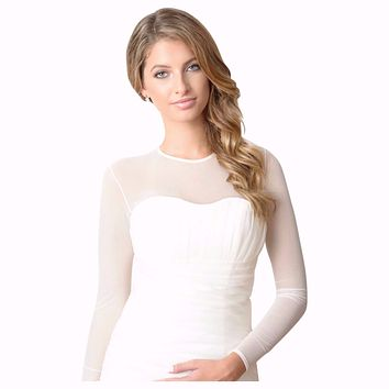 BEST SELLER! Semi Sheer Mesh Bodysuit wedding dress Bridal Cover up.