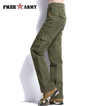 Women Army Green Cargo Pants 2016 New Fashion Cotton Female Casual plus pants military casual pants