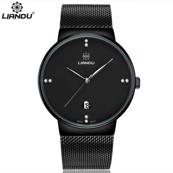 LIANDU Luxury Brand Fashion Women Men Luxury Gold Black Stainless Steel Analog Quartz Wrist Watch For Men relogio masculino #509