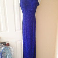 Fully Beaded Royal Blue Sean Collection Prom Dress size XS