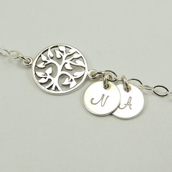 Personalized Family Tree of Life  Bracelet. Initial Charm. Sterling Silver Personalized Bracelet. Mom Bracelet. Tree Initial Charm Jewelry