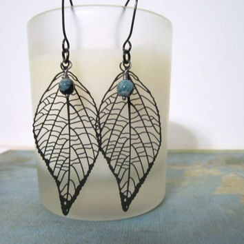 Leaf Earrings - Black by 636designs