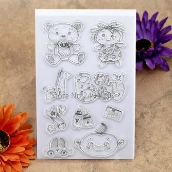 BABY Bear Bottle Car BOY GIRL Scrapbook DIY photo cards account rubber stamp clear stamp transparent stamp 10x15cm KW7041823