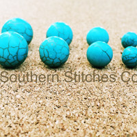 Earrings Turquoise Howlite  Earrings Stud Earrings 8MM 10MM 12MM 14MM Boho Jewelry Bridesmaids Gifts