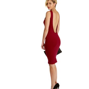 Promo-burgundy Dressed Up Midi Dress