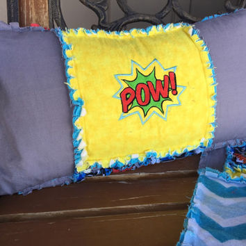 Throw Pillow, Pow Embroidery, 21x12 inches, Superhero Theme