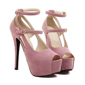 Peep-toe  open toes Pumps High Heels  Crossover  straps H Shoes Pink