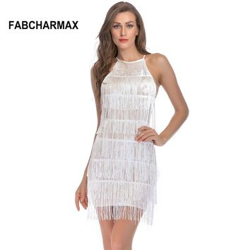 Sleeveless fringe embroidery sequin dress tassels halter strap cut out bodycon dress