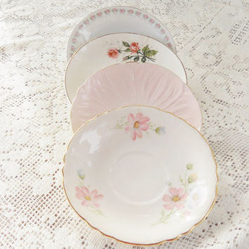 Set of 4 Gorgeous Mismatched Saucers, Tea Party for 4, Wedding, Cottage Chic, Vintage, Replacement China