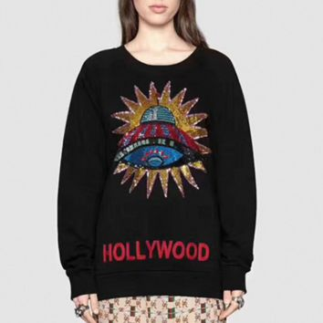2017 early autumn color beads film UFO UFO alphabet embroidery round neck long sleeves black sweater