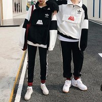 """""""Adidas"""" Women's Leisure Fashion Spell Color Letter Printing Long Sleeve Trousers Two-Piece Casual Wear"""