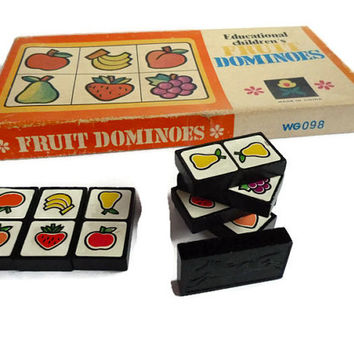 Vintage Wood Domino Set. Wooden Fruit Dominoes in Original Box. Domino Toy Game .