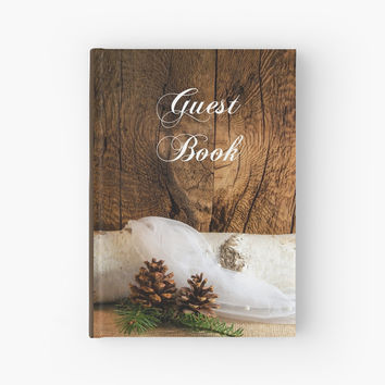 'Rustic Birch Tree and Pine Cones Wedding Hard Cover Guest Book' Hardcover Journal by Lora Severson