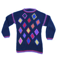 Vtg Knitted Chunky Sweater 90s multicolor 90s sweater Warm fall sweater