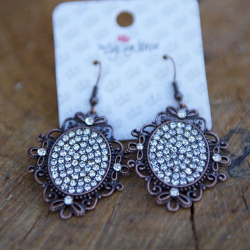 Copper Antique Sparkle Earrings
