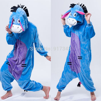 Cartoon Animal Cosplay Eeyore Donkey Onesuits Pajamas Jumpsuit Hoodies Adults Cos Costume for Halloween and Carnival
