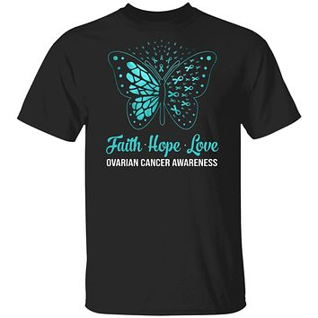 Faith Hope Love Teal Butterfly Ovarian Cancer Awareness
