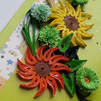 Beautiful Handmade Quilling Card - Love Quilling Card - Birthday Quilling Card - With Colored Summer Flowers on the Light Green Background