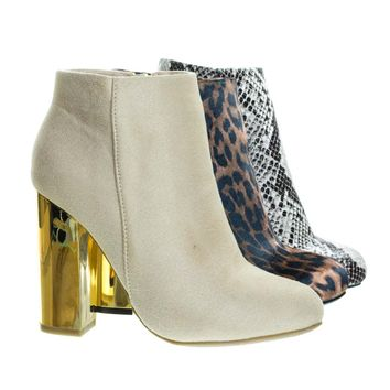 Scenery11 Ivory Beige by Bamboo, Faux Fur Lined Metal Plated Chunky Block Heel, Women's Ankle Bootie