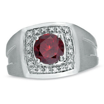 Men's 80mm Garnet and 1/10 CT TW Diamond Ring in by NaomisCo2