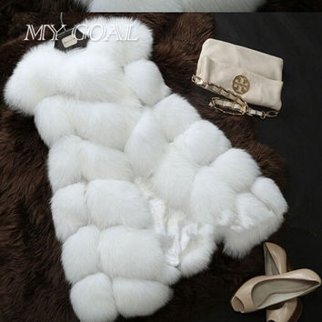 Winter Warm Vest New Arrival Fashion Women Import Coat Fur Vest High-Grade Faux Fur Coat Fox Fur Long Vest Black Plus Size