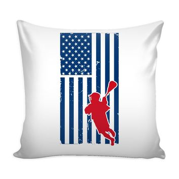 Lacrosse American Flag Graphic Pillow Cover