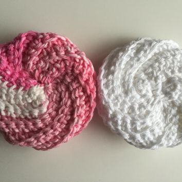 Tawashi Style Scrubbie - Set of 2 - Handmade - Crocheted - Cotton - Pink - White - Washcloth - Pot Scrubber - Dishcloth